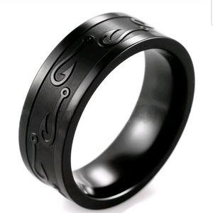 8mm Stainless Steel black Ring Man Women Band